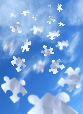 Falling puzzle pieces from the sky. Stock Photo - 723116