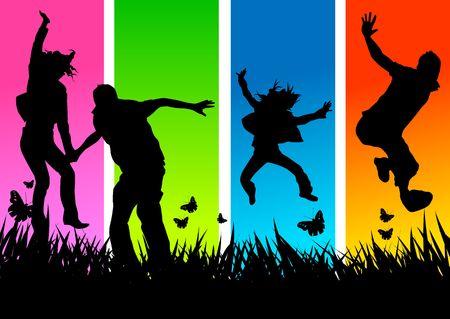 Gente joven que tiene diversión y que es activa Foto de archivo - 723122