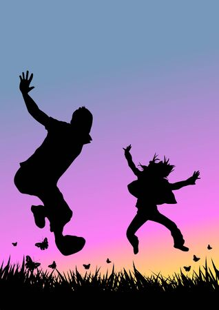 A couple jumping in a field Stock Photo