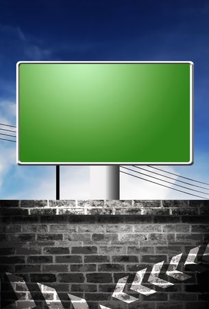 A blank advertising board against a wall.