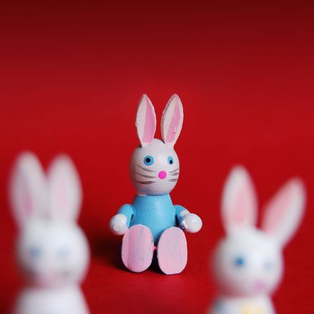 Three easter rabbits with focus on the centre. photo