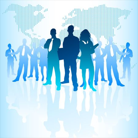 them: A large group of business people with a digital world behind them. Stock Photo
