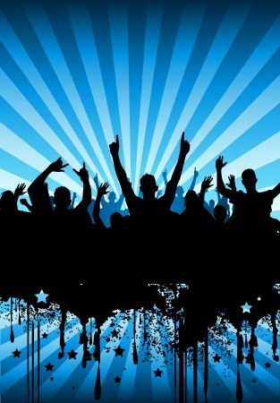 hand beats: A crowd of people cheering at a concert. Stock Photo