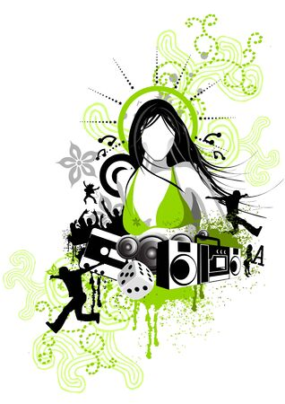 design piece with women, music and various design elements.
