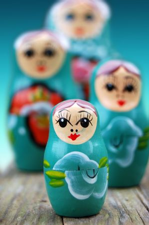 Close up shot of four russian dolls photo
