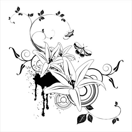 Floral Abstract background elements in black and white. photo