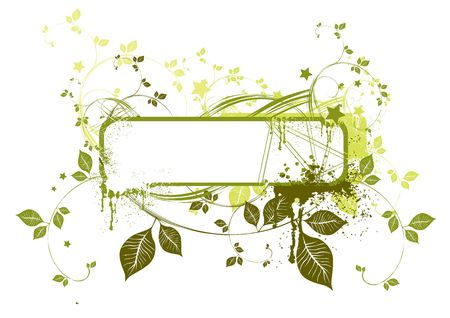 Floral Grunge Frame with natural green elements. Stock Photo - 915771