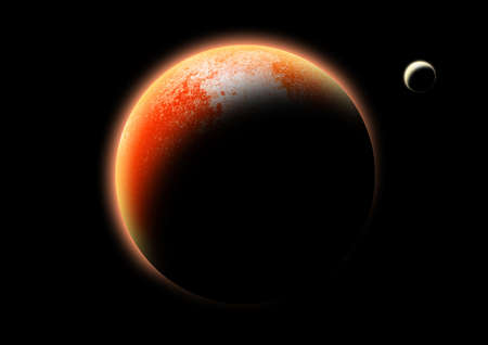 A red planet with a moon. photo