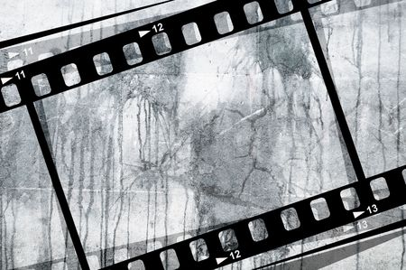 hollywood: A grunge film reel background.