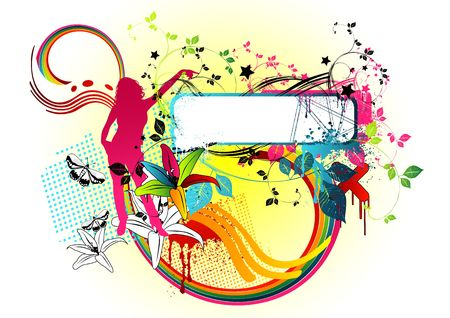 Wake up and smell the colours! Funky floral elements and music design piece. Stock Photo
