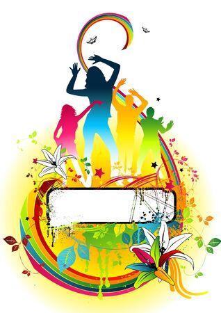 stylistic: Floral disco colour party design piece.