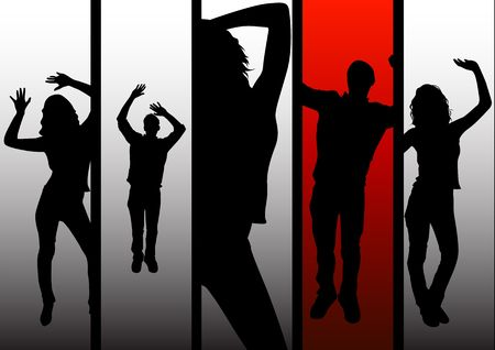 celebrate life: A group of dancing people.  Stock Photo