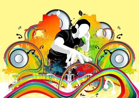 A DJ and many other musical elements make up this art work. Stock Photo - 960559