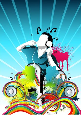 music inspired illustration with a man listening to music. illustration