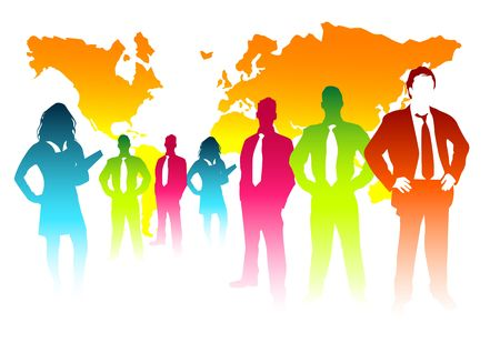 A colourful business team with the world behind them. Stock Photo