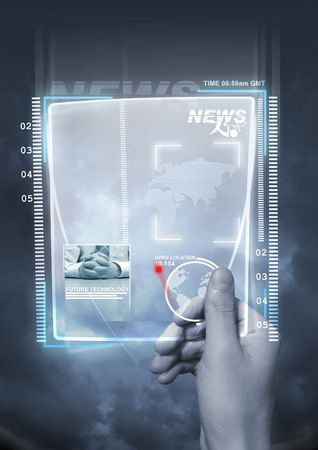 gprs: A concept of future technology with a man holding a electronic newspaper. Stock Photo