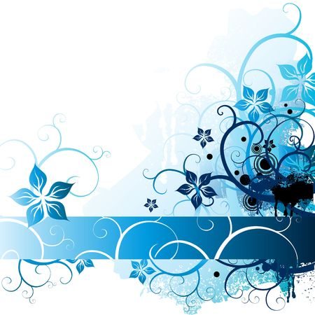 A background with floral elements in blue tones