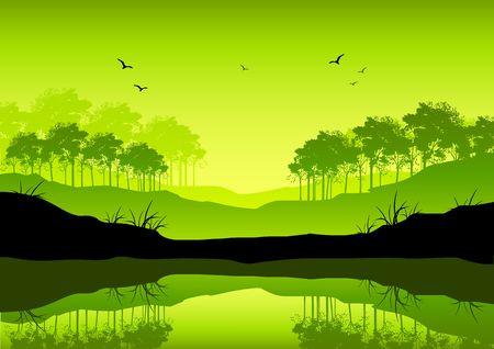 heavenly light: A fresh green coloured landscape illustration.