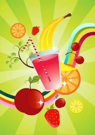 smoothie: A fruit smoothie with various fruits and a smoothie.