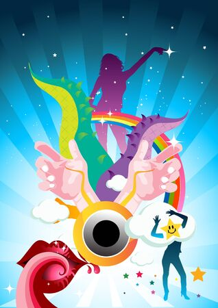 illustration featuring people dancing and colourful elements. illustration