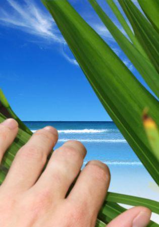 Una persona que revela una p�rdida de playa  Foto de archivo - 1281778