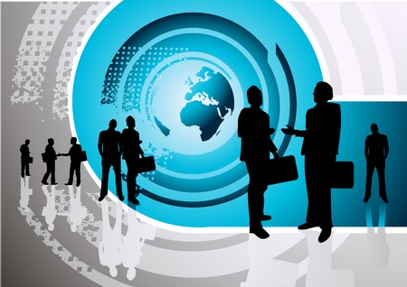 A group of professionals with the world in the background Stock Photo - 1397484