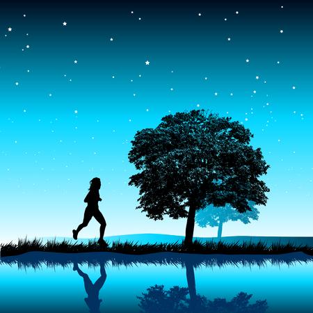 mujeres corriendo: Una mujer corriendo en la noche.