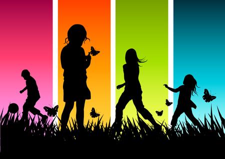 futbol infantil: Un grupo de ni�os jugando fuera.