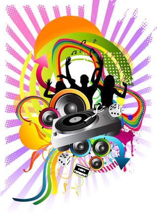 party people and music illustration. illustration