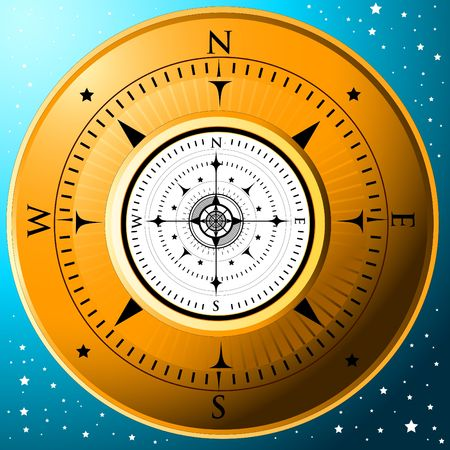 nautic: A gold compass on a blue starred background Stock Photo