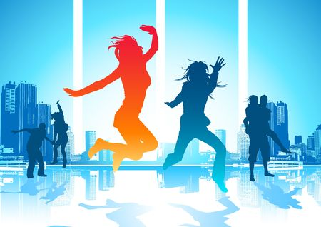 Happy Jumping People Stock Photo