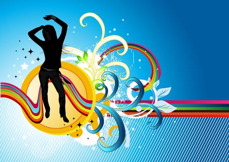 party girl on dance abstract background photo