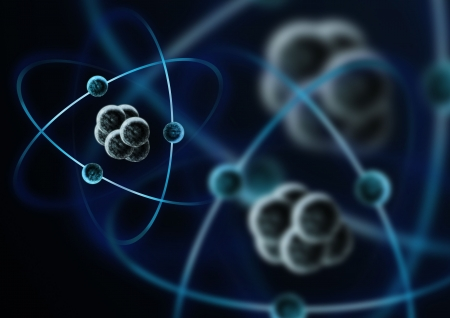 atoms: An impression of a atom with electrons.