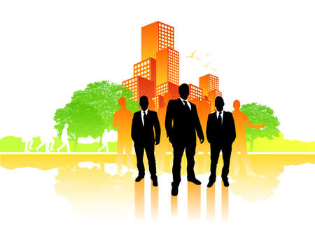 busy life: Busy city life vector with a group of people. Stock Photo