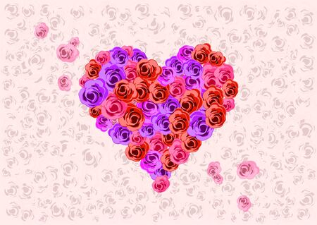 Vector roses make up a heart of love. photo