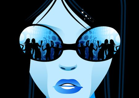 A cool girl looking at a party in a nightclub through sunglasses.. Stock Photo - 2472572