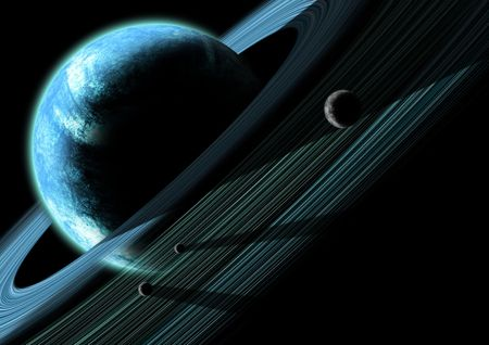 A gas giant planet with a system of planetary rings and shepard moons. photo