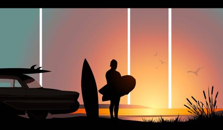 Un surfeur prendre un dernier regard avant de retourner chez eux.  Banque d'images - 2472575
