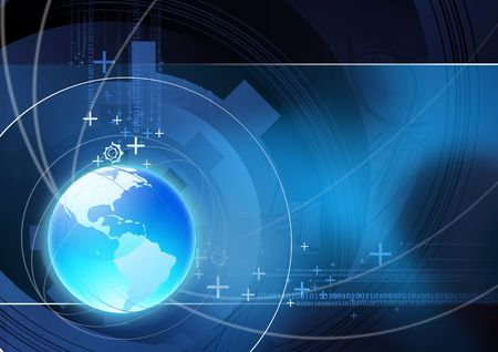 conexiones: Mundial de comunicaci�n ilustraci�n con elementos t�cnicos.