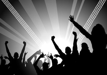 foule mains: Une immense foule lors d'un concert joie! Banque d'images