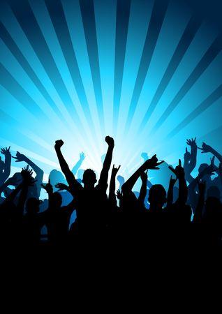 foule mains: Une grande foule de personnes acclame