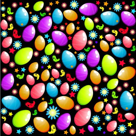 Easter elements background with easter eggs and chicks. Stock Photo - 2689802