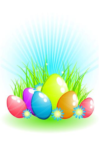 Easter eggs on grass background photo