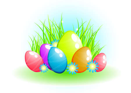 Easter eggs on grass background Stock Photo - 2689781