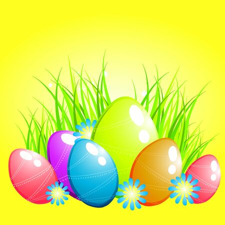 Easter eggs on grass background. photo