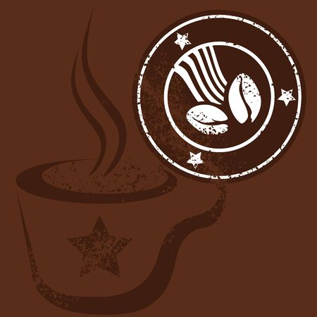 Coffee Cup and Stamp Vector. photo