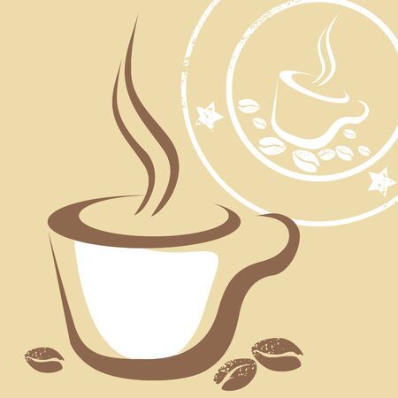 Coffee Cup and Stamp Vector photo