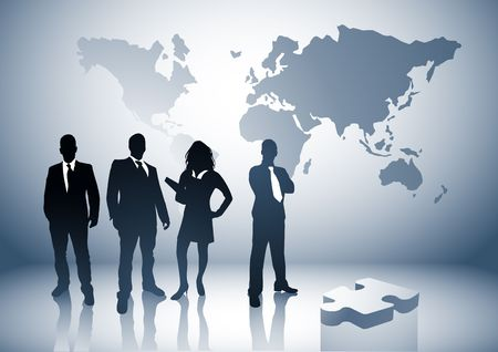Professional team with the world behind them. Stock Photo - 2885667