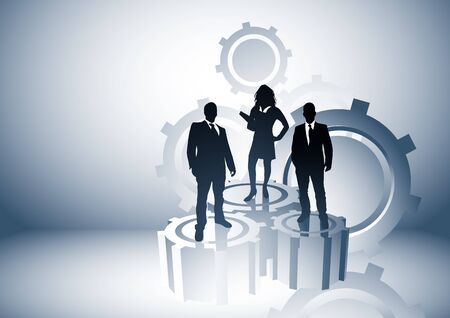 Team leaders business concept with people on cogs. Vector illustration. illustration