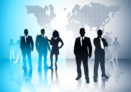 sales executive: Business people with a world in the background. Vector illustration.